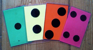 The coloured cards used to show when and how players should react to unnatural events